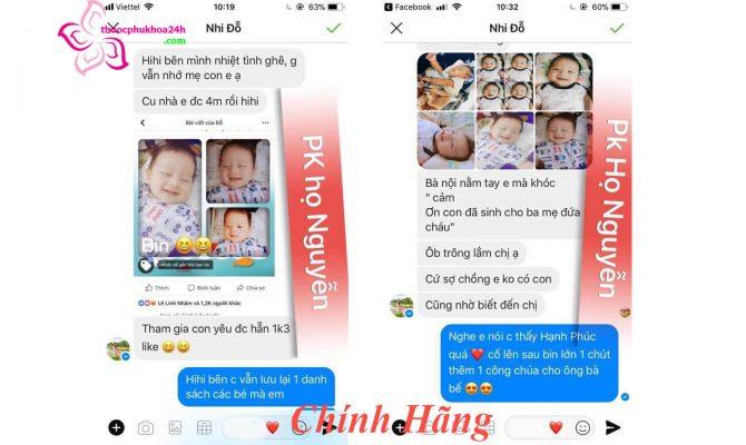 khách hàng báo bầu sau khi sử dụng phụ khoa họ Nguyễn